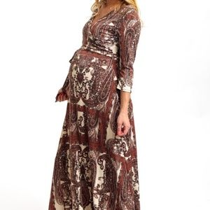 Mocha Paisley 3/4 Sleeve Maternity Maxi Dress S